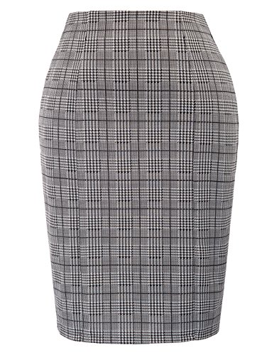Kate Kasin Womens Knee Length Elastic Waist Stretchy Bodycon Plaid Business Pencil Skirt
