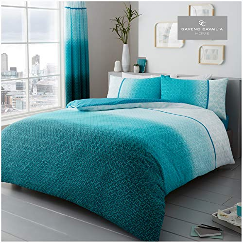 Gaveno Cavailia Luxury URBAN OMBRE Bed Set with Duvet Cover and Pillow Case, Polyester-Cotton, Teal, King