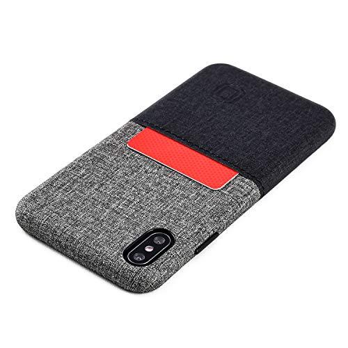 Dockem Luxe M1 Funda Cartera para iPhone XS MAX: Funda Tarjetero Slim con Placa de Metal Integrada para Soporte Magnético: Serie M [Negro y Gris]