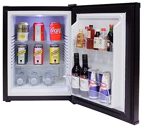 FERBOX MINIBAR 40L - Minibar silencioso (0 dB), Capacidad: 40 litros, Descongelación automática, Bajo Consumo, Rango de Temperatura (+3º +10º), 65W, Puerta Reversible (Negro)
