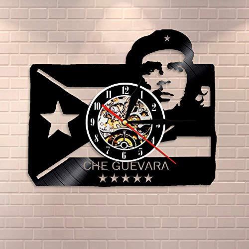 SFTWEAD Bandera de Cuba Revolución Retrato de Hombre con Arte de Pared Cubano Reloj de Pared Reloj de Pared Vintage socialista con Registro