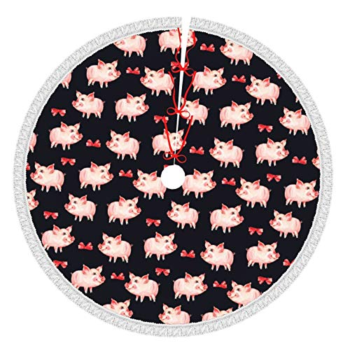 ACBULU Tassel Christmas Tree Skirt red Animal Pig for Xmas New Year Holiday Party Supplies Large Tree Mat Decor Ornaments 30 36 48 Inch