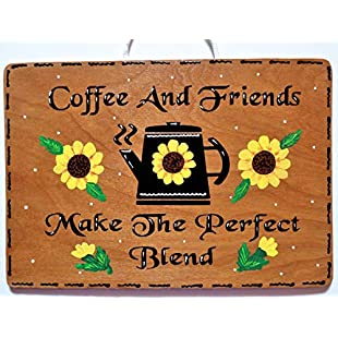 Customer reviews 76DinahJordan Sunflower Coffee Friends Kitchen Sign Wall Art Hanging Hanger Plaque Country Wood Crafts Handcrafted Decor Wood Wooden Door Sign:Peliculas-gratis