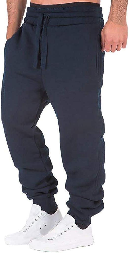 WUAI-Men Athletic Jogger Pants Track Sweatpants Elastic Waist Casual Running Slim Fit Jogging Sweat Long Pants