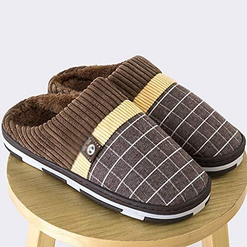Aydqc 2020 zapatillas para hombres NUEVOS zapatillas de hombre caliente zapatillas de felpa corta zapatillas para el hogar para los hombres que llevan duro los zapatos de costura suave de costura suav