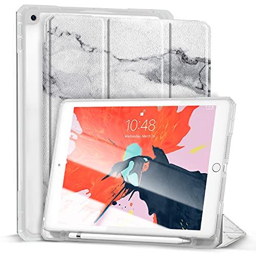 Gahwa Hülle für Neu iPad 8. Gen 2020/7. Generation 2019, 10,2 Zoll Ultra Leicht Schutzhülle Transluzent Matt Rückseite, Auto Schlaf/Wach Funktion, Magnetische Abdeckung (mit Stifthalter) - Marmor