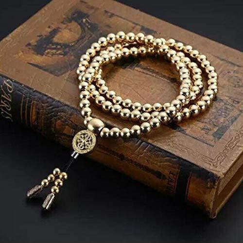 UIGJIOG Outdoor Acciaio Inossidabile 108 Buddha Perle Collana Collana Titanio Acciaio Metallo Frustino Auto Difesa Accessori,D