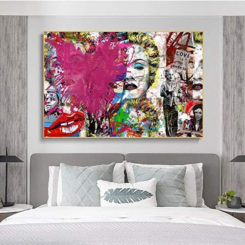 GJQFJBS Liebe ist die Antwort Graffiti-Kunst Leinwandbilder an der Wand Kunst Poster und Drucke Einstein Street Art Bilder Home Wanddekor Replik (Rahmenlos) 70X120CM