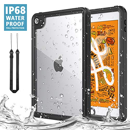 MoKo Case Fit New iPad Mini 5 2019 (5th Generation 7.9 inch), Waterproof Case with Built-in Screen Protector Clear Protective Shock-Absorbing Bumper Dustproof Submersible Full-Body Case - Black