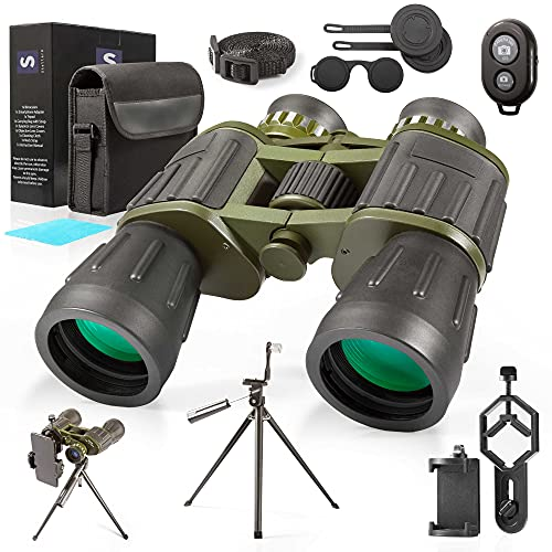 12X50 Military Binoculars with Photography Kit Pro Tripod & Smartphone Adapter Bluetooth Shutter Carrying Bag & Strap Bright Lens, Easy Focus Great Camping, Travel, Stargazing, Bird Watching