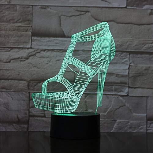 Illusielamp 3D LED nachtlampje sfeerverlichting tafellamp nacht vriendin verjaardagscadeau tafellamp decoratielamp dames hoge hakken schoenen