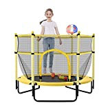 Daxue 60' Baby Trampoline with net for Kids, 5 FT Outdoor Indoor Toddler Trampoline with Safety Enclosure and Basketball Hoop and Pit Balls, Small Trampoline Birthday Gifts for Kids Age 2-12, Yellow