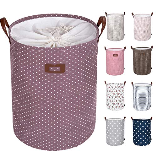 DOKEHOM 22-Inches Freestanding Laundry Basket with Lid, Collapsible Extra Large Drawstring Clothes Hamper Storage with Handle (Purple, XL)