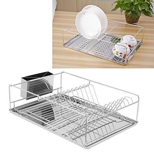 Rejilla para escurrir platos, con soporte para palillos, organizador de cocina conveniente y firme, duradero para tazón, plato, palillos, almacenamiento, hogar, cocina, utensilios de