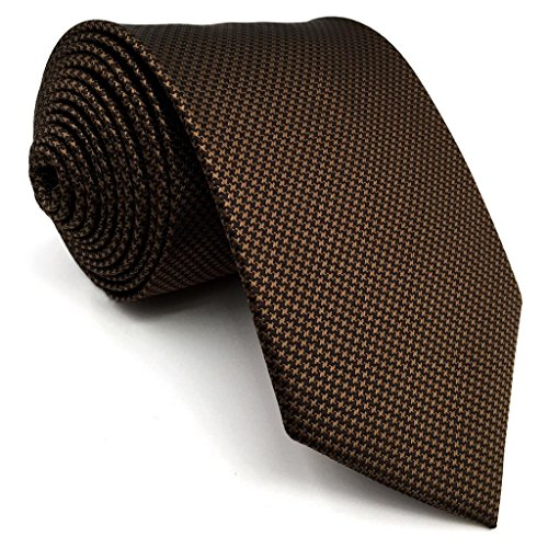 Shlax&wing Hommes Cravate Couleur Unie Marron Soie Extra Long Costume d'affaires
