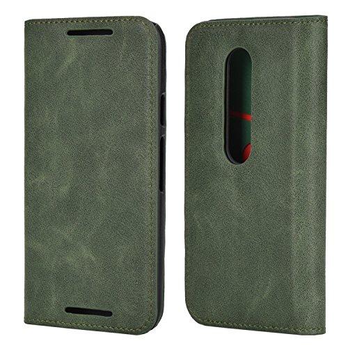 Mulbess Ledertasche im Ständer Book Hülle für Motorola Moto G 3. Generation Tasche Hülle Leder Etui,Grün