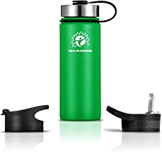 Stainless Steel Water Bottle/Thermos18, 22, 32, 40, 64 oz 8 Colors Do. Wall Vacuum Insulated:Wide Mouth Metal Travel Tumbler:Heavy Duty Reusable BPA Twist Lid Bottle for Hot/Cold Liquid: Bonus-2 Lids