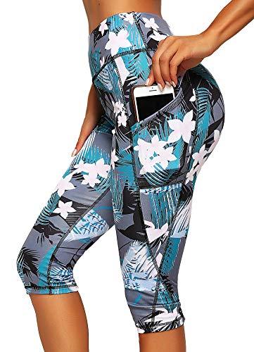 INSTINNCT Damen Doppeltaschen Sport Leggings 3/4 Yogahose Sporthose Laufhose Training Tights mit Handytasche Capris(normal) - Blumen-1187 S