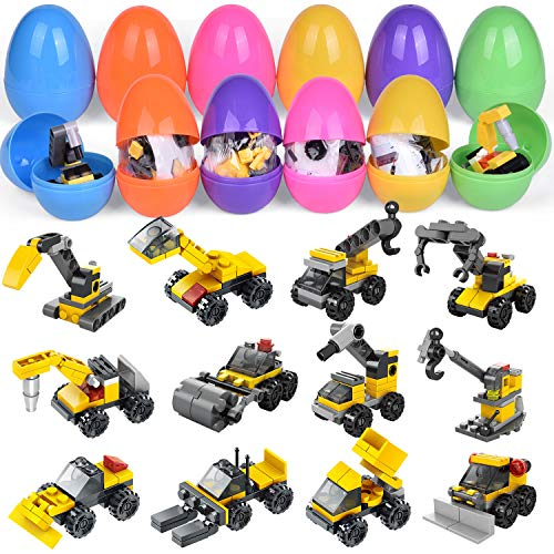 FUN LITTLE TOYS 14 PCs Easter Eggs Prefilled with Mini Construction Vehicles Building Blocks, Easter Basket Stuffers, Easter Egg Fillers, Goodie Bag Fillers, Kids Prizes