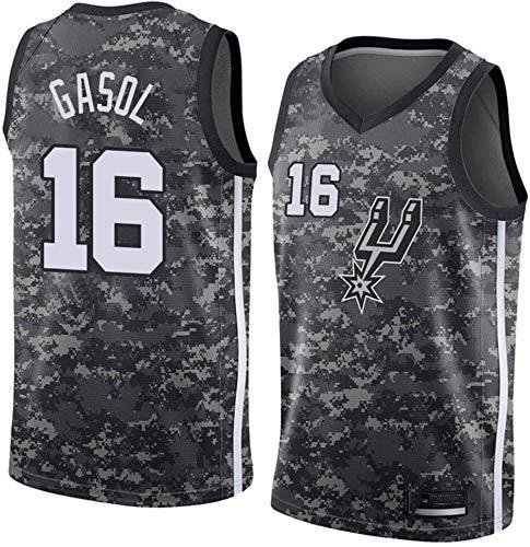 XIAOHAI NBA Jerseys del Baloncesto de los Hombres de San Antonio Spurs # 16 PAU Gasol clásico Jersey, Desgaste Transpirable Uniforme de Baloncesto Unisex Ventilador,XXL