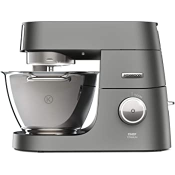 Kenwood Chef Titanium Stand Mixer for Baking - Powerful and Stylish Kitchen Machine in Silver, with K-beater, Dough Hook, Whisk and 4.6 L Bowl, 1500W, KVC7300S, Silver