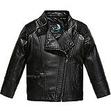 Budermmy Boys Faux Leather Motorcycle Moto Biker Jackets Zipper Coats Black Size 8