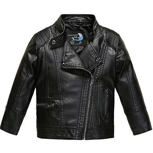 Budermmy Boys Faux Leather Motorcycle Moto Biker Jackets Zipper Coats Black Size 12