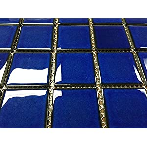 "Vogue Premium Quality 2"" x 2"" Cobalt Blue Square Pattern Porcelain Mosaic Tile on Mesh on 12x12 sheet, Designed in Italy (1)"