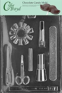 Cybrtrayd Life of the Party J077 Manicure Kit Nail File Cuticle Scissors, Polish Chocolate Candy Mold in Sealed Protective Poly Bag Imprinted with Copyrighted Cybrtrayd Molding Instructions