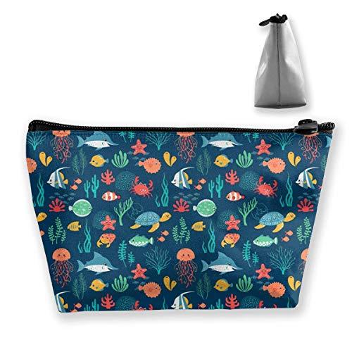 Sea Animals Pattern Wallpapers 51568 1920x1200 Schminktasche Große trapezförmige Aufbewahrung Reisetasche Waschen Kosmetikbeutel Stifthalter Reißverschluss Wasserdicht