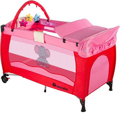 TecTake Kinder Reisebett höhenverstellbar mit Babyeinlage - diverse Farben - (Pink | Nr. 402202)