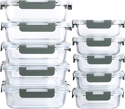 MCIRCO Récipients en Verre avec Clips de Fermeture pour Conservation Alimentaire, Lot de 20 Pièces (10 récipients + 10 couvercles), sans BPA
