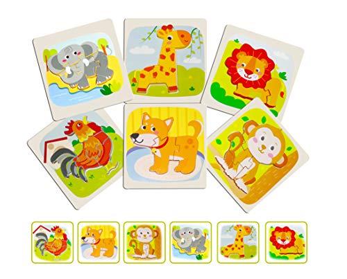 Animales Puzzles de Madera Juguetes Bebé Rompecabezas de Madera de Madera 6 Piezas Educativos Juguetes para Bebé Niños, Juguetes Montessori para Bebé Niños y Niñas (Animal)
