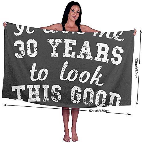 Yocmre badhanddoek 30 jaar te kijken bedrukt microvezel strand/zwembad/bad handdoek voor Unisex 130 * 80cm (52x32 inch) Super zacht, zeer absorberend