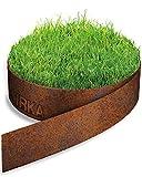IRKA Bordi per prato band in acciaio Corten 20cm x 15m x 1mm, alto ruggine Bordura per giardino