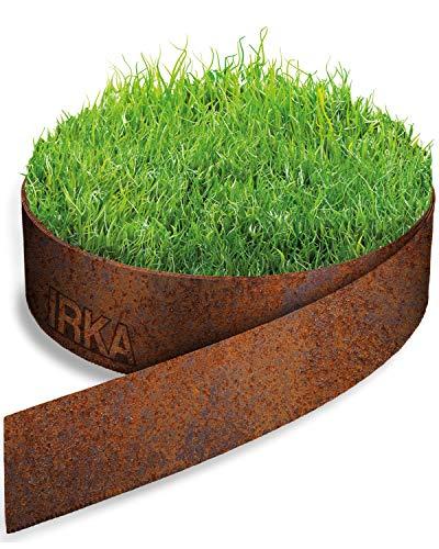 IRKA Rasenkantenband Cortenstahl Garten 20 cm x 10m x 1mm | Cortenstahl Rasenkante Rost mit Versteifungskante 20cm | Flexible Beeteinfassung Metall Rost | Rasenkante aus Cortenstahl