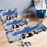 3 Piece Flannel Doormat School of Witchcraft Castle and Wizard Signboard Snowy Rooftops Sky and Clouds for Kitchen Rugs Carpet(W15.7xL23.6 by W19.6xL31.5 by W17.7xL53)