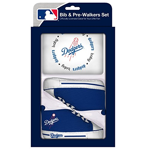 Baby Fanatic MLB Velcro-Closure Bib and High-Top Pre-Walker Set, Los Angeles Dodgers, Team Color