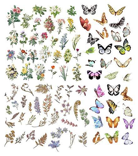 180 Hojas Pegatinas, Pegatinas de plantas, flores, mariposas, DIY Manualidades Decoración Scrapbooking Álbumes de Recortes Calendarios Tarjetas de Felicitación Regalos