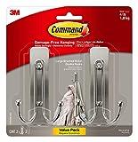 Command Large Wall hooks, 2 Pack, Brushed Nickel, Organize Damage-Free