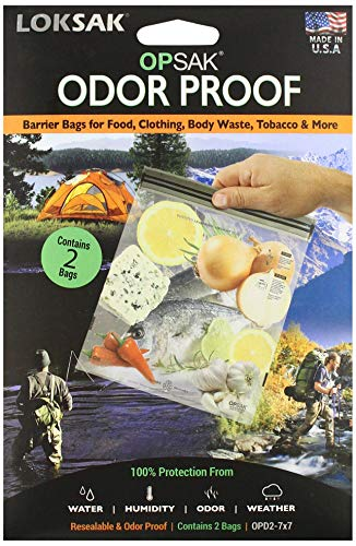 LOKSAK - OPSAK Storage Bag, Re-Sealable and Odorless Protection for Water, Humidity, Sand and Snow (2 pack of 7 in x 7 in)