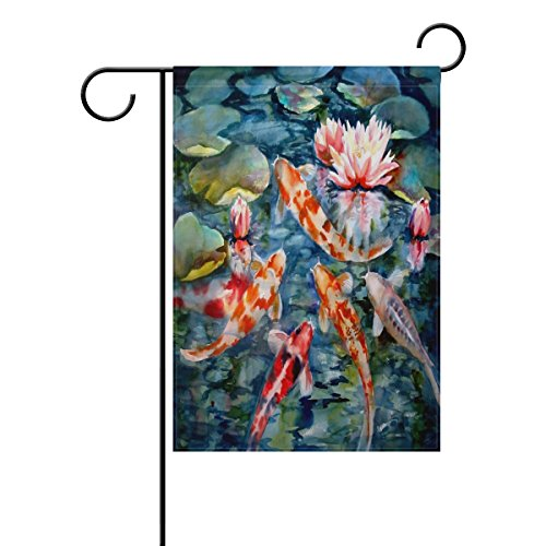 LIANCHENYI Japanese Koi Fish mit loctus Blumen doppelseitig Familie Flagge Polyester Outdoor Flagge Home Party Decro Garten Flagge 71,1x 101,6cm