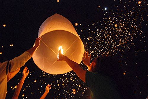 Tenozek (50pcs Chinese Sky Kongming Lanterns Fire Fly Candle Lamp for Wish Party Wedding (US Stock) (White)