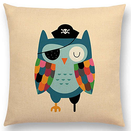 The Beach Stop Cartoon Animal Creative Designs Cushion Covers (Pirate Owl)