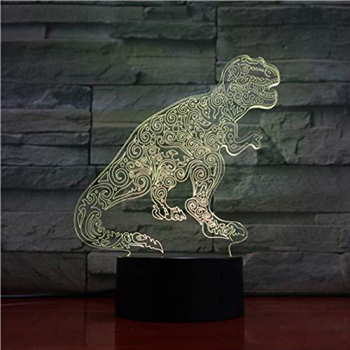 3D Dinosaurio Noche Luz Ilusión Luz 7 Color Decoración Luces Año Nuevo Niños Víspera Niños Niños Juguetes Juguetes Cumpleaños Día De San Valentín Regalos