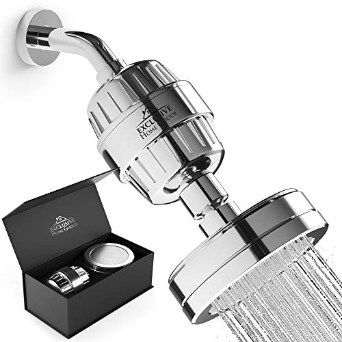 Shower Head Filter Combo Water Purifier – 15 Stage Filtered Shower Head – High Pressure Water Softener Purifying Showerhead - High Flow Powerful Bathroom Shower Head - Chrome, Exclusive Home Goods