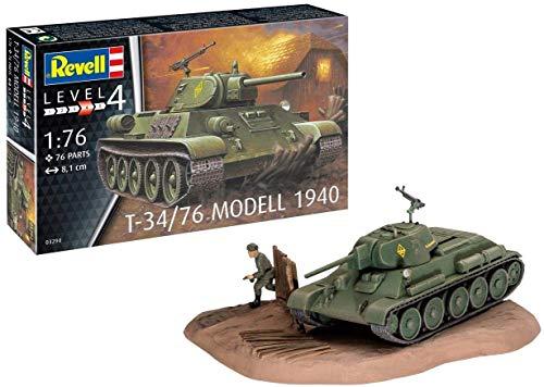 Revell 03294 T-34/76 Modelo 1940 - Maqueta de Barco avanzado sin Pintar