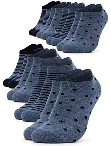 Occulto 8 pares de Calcetines para Mujer   Calcetines para Zapatos de Verano para Mujer   Calcetines cortos de Algodón para Mujer 35-38 Azul