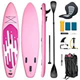 YUSING 11' Inflatable Stand Up Paddle Board with Kayak Seat, Non-Slip Deck SUP Paddle Board with Premium Kayak and SUP Accessories & Backpack, Portable Standing Boat for Youth & Adult(Pink)