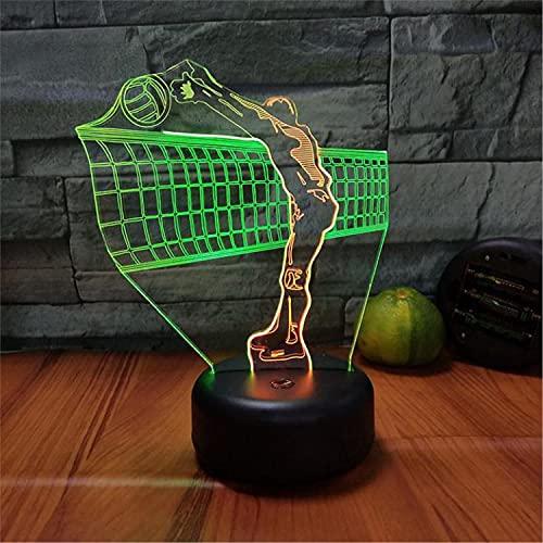 SLJZD luz de noche Lámpara De Noche Luminosa 3D Con Patrón De Voleibol, Sensor Táctil Para Decoración De Dormitorio, 7 Colores, Luz Led Para Cabecera, Regalo Creativo Para Niña Con Control Remoto